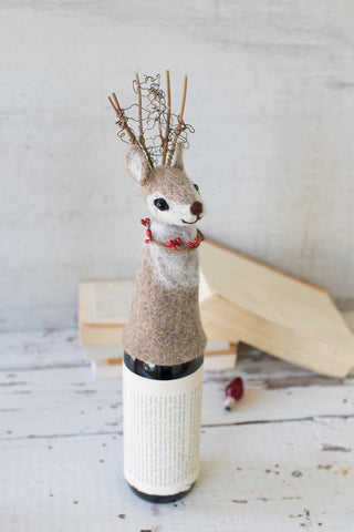 Felt Christmas Deer Wine Topper
