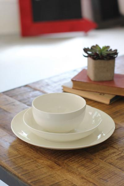 Set Of 3 White Ceramic Dinnerware - One Each Bowl Salad Dinner