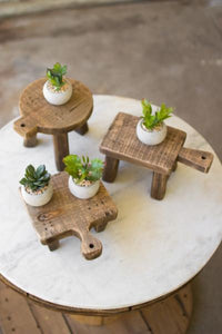 Set Of 3 Cutting Board Risers - One Each Design