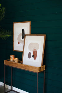Set Of 2 Abstract Prints Under Glass