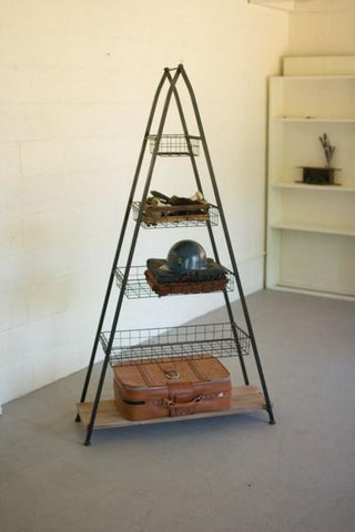 A Frame Tower With Wire Baskets & Wooden Shelf