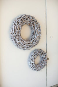 "Grey Wash Willow Root Christmas Wreath - 19"" D"