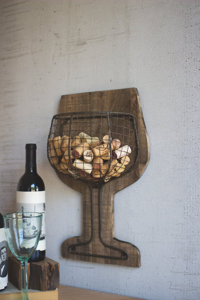 Wood And Wire Wall Wine Cork Holder