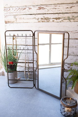 Metal Tabletop Jewelry Holder With Mirror