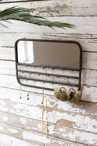 Wall Mirror With Jewelry Hooks