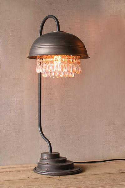 Metal Dome Table Lamp With Hanging Glass Gems