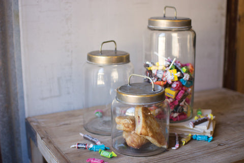 Set Of 3 Glass Jars With Metal Lids