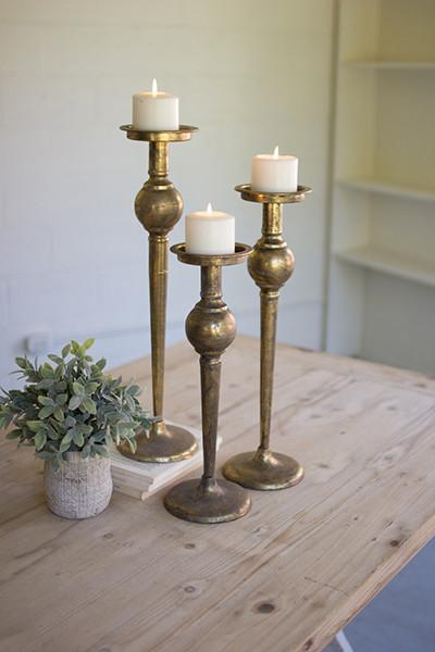 Set of 3 Metal Candle Stands