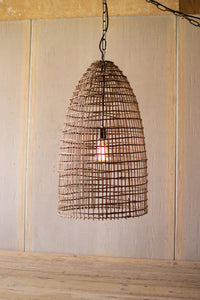 Woven Cane Dome Pendant Light