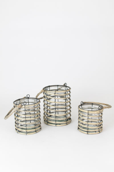 Set of 3 Grey Willow Lanterns With Glass
