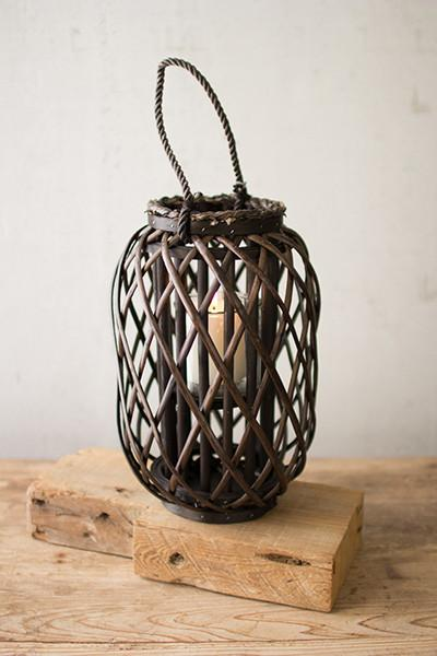Small Willow Lantern With Glass - Dark Brown