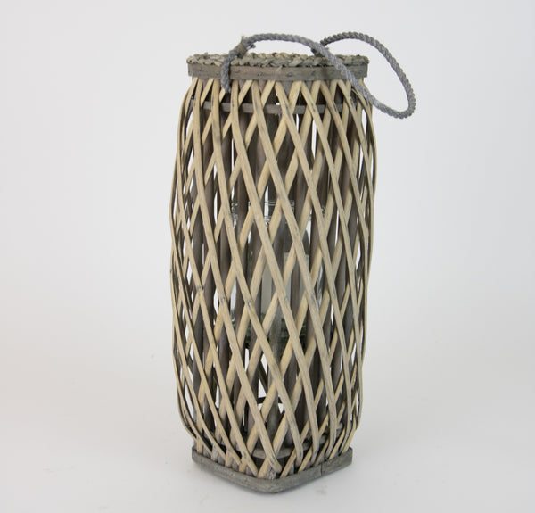 Tall Oval Grey Willow Lantern - Small