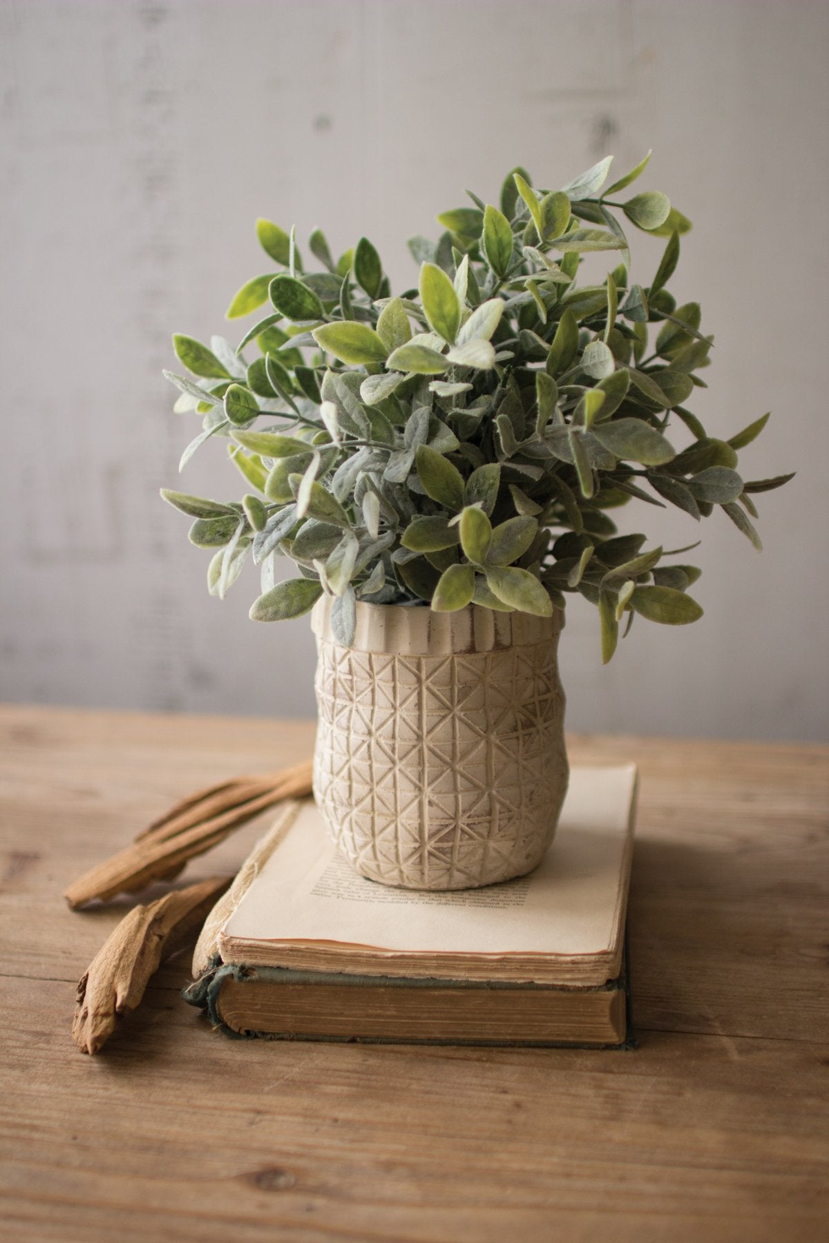 Artificial Sage With Criss Cross White Pot