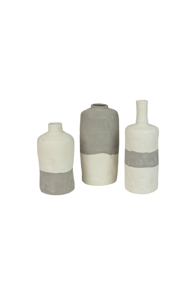 Set Of 3 Ceramic Bottle Vases - Matte Grey & Cream
