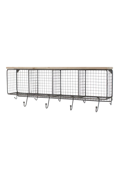 Large Wire Mesh 4 Horizontal Cubbies With Wooden Top