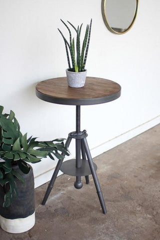 Round Wood & Adjustable Metal Side Table