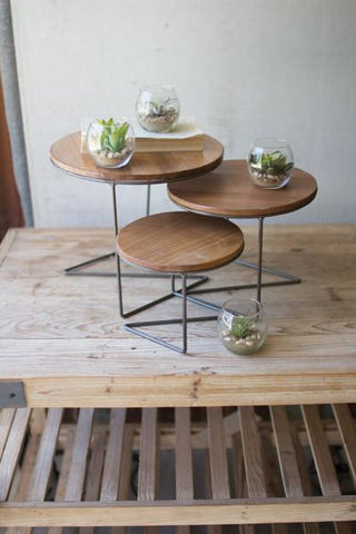Set Of 3 Round Wire Display Risers With Wood Tops
