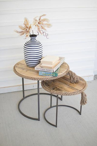 Set Of 2 Round Nesting Tables With Recycled Wood With Rope Accent