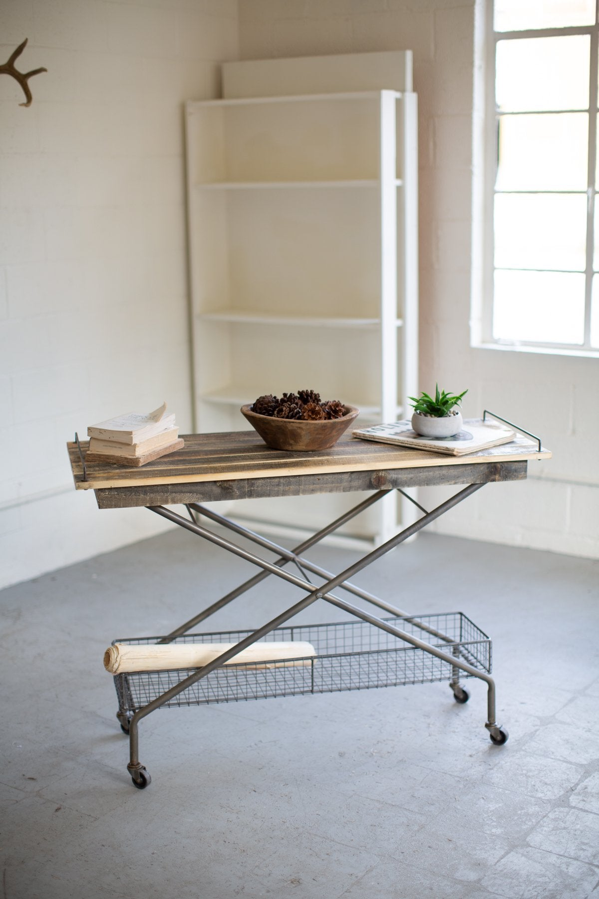 Recycled Wood Console Table With Metal Base Basket Casters