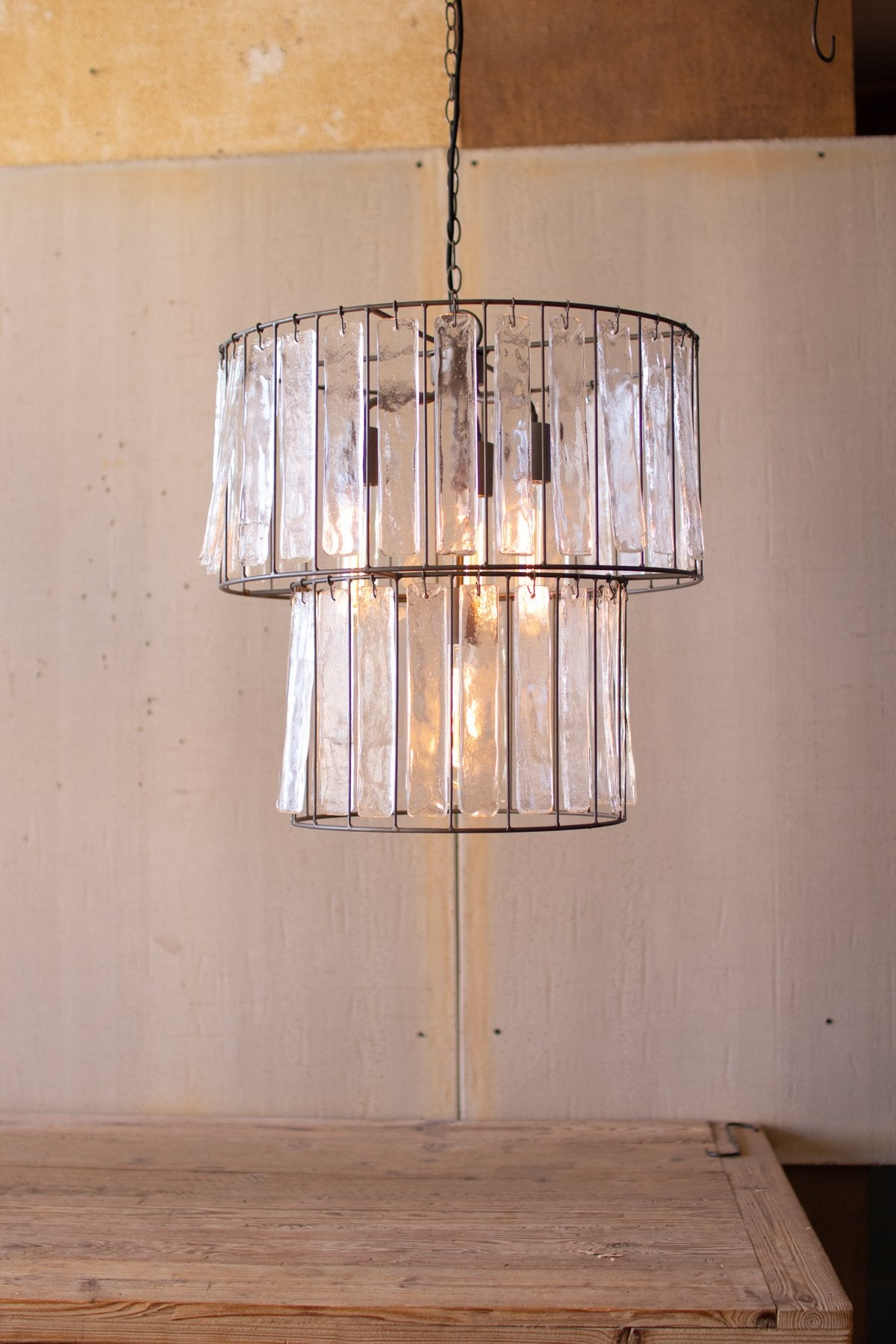 Two Tiered Round Pendant Light With Glass Chimes