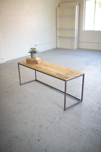 Iron And Recycled Wood Bench