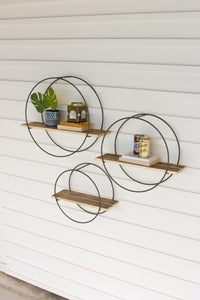 Set Of 3 Recycled Wood Shelves With Round Metal Frames
