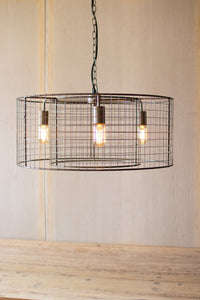 Double Barrel Wire Mesh Hanging Pendant Light