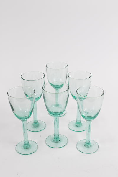 Set Of 6 Recycled Wine Glasses