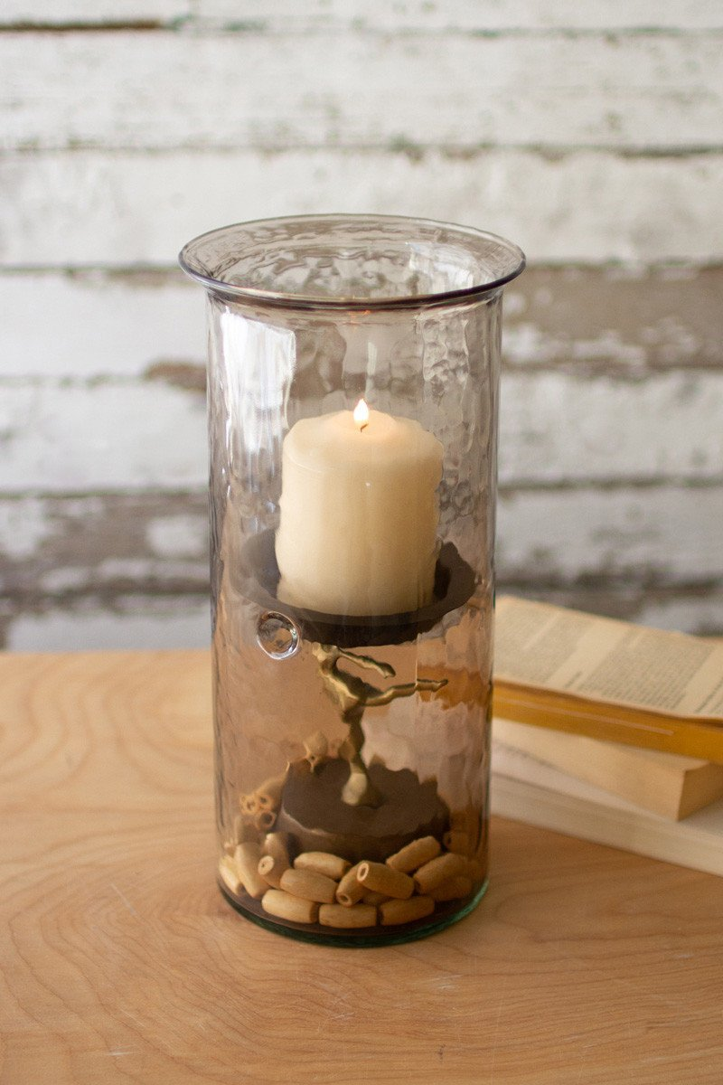 Mini Smoked Glass Candle Cylinders With Rustic Insert  -  Large