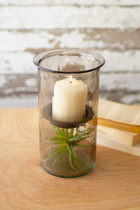 Mini Smoked Glass Candle Cylinders With Rustic Insert  -  Medium