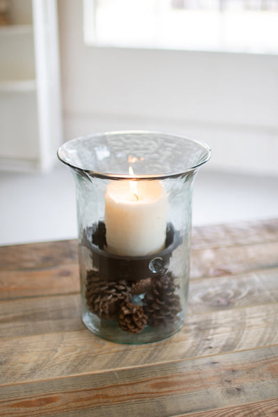 Original Glass Candle Cylinder With Rustic Insert - Small