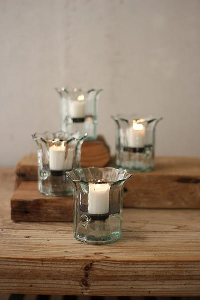 Set Of 4 Recycled Glass Mini Ribbed Votive Cylinders