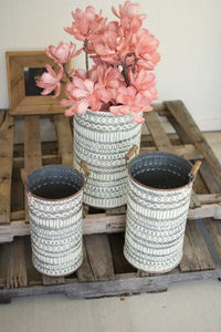 Set Of 3 Pressed Tin Buckets With Wooden Handles