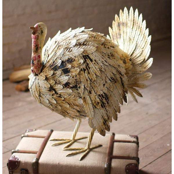 Painted Metal Turkey - Antique White