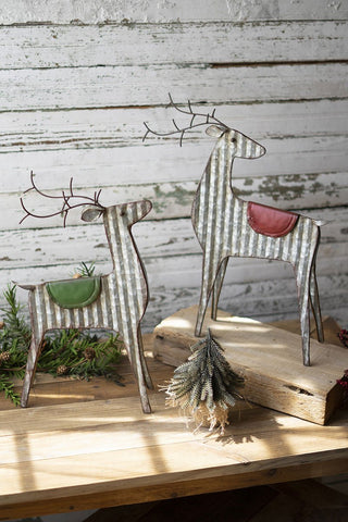 Set Of 2 Metal Reindeer