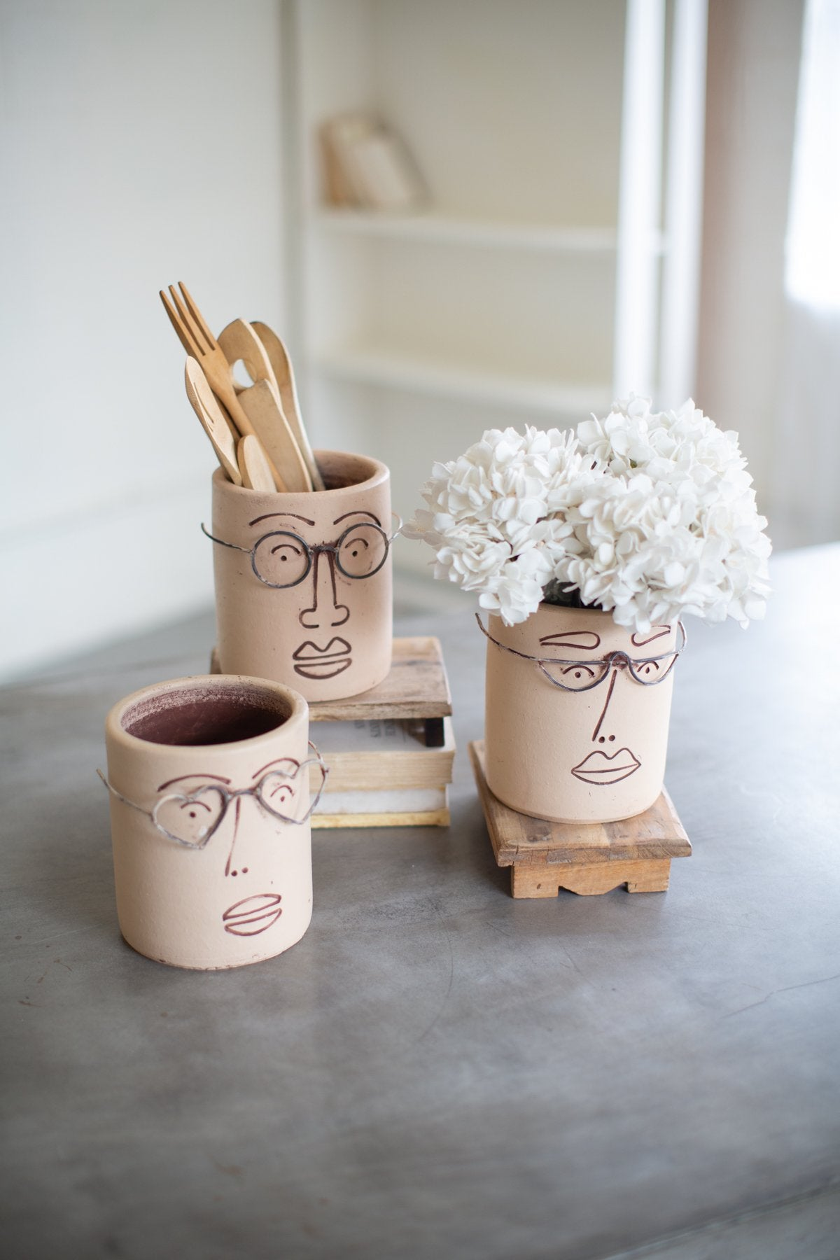 Set of 3 Clay Face Planters With Wire Glasses