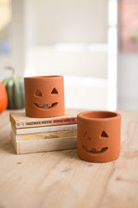 Set of 6 Small Terracotta Jack O Lanterns