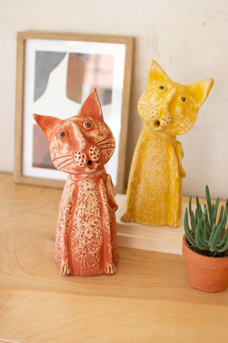 Set Of 2 Clay Singing Cats