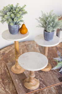 Set Of 3 Wooden Display Stands With White Marble Tops