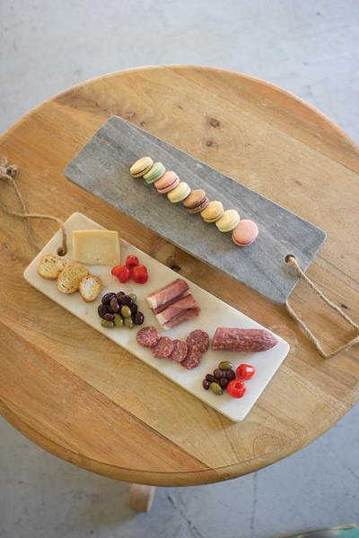 Grey Marble Long Cutting Board With Rope Handle