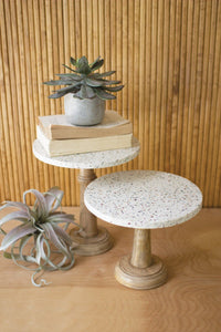 Set of 2 Terrazzo Pedestals With Wood Bases
