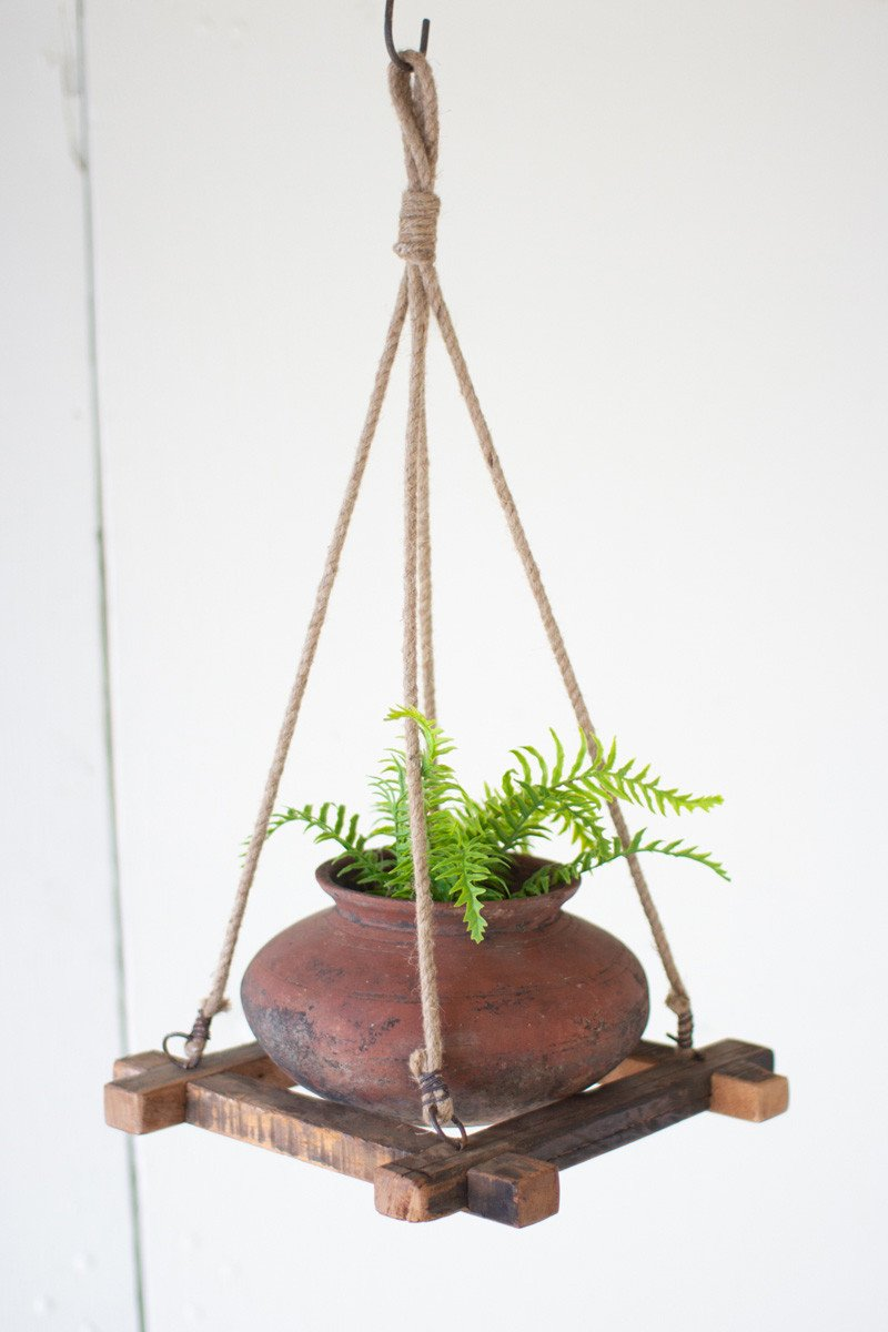 Hanging Clay Flower Urn With Recycled Wooden Hanger