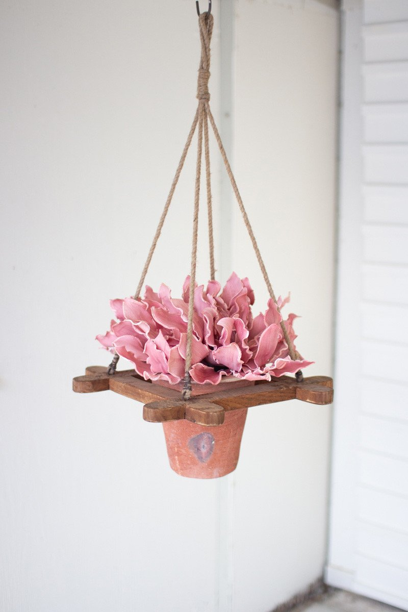 Hanging Clay French Flower Pot With Recycled Wooden Hanger