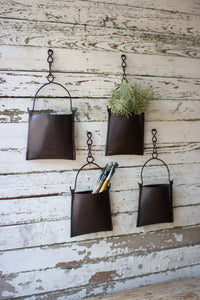 Hanging Iron Pocket Buckets With Chain - Set Of 4