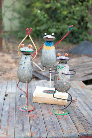 Set Of 3 Painted Iron Yoga Frogs
