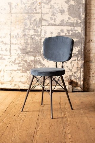 Velvet Dining Chair With Iron Frame  -  Steel Blue