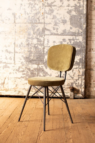 Velvet Dining Chair With Iron Frame  -  Avocado