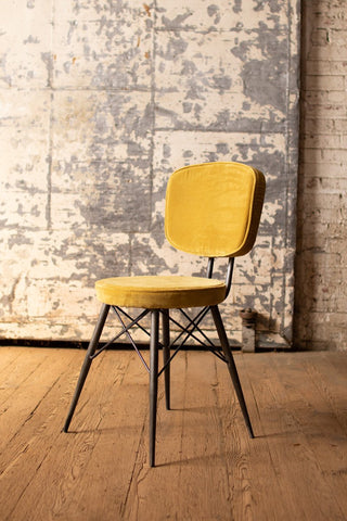 Velvet Dining Chair With Iron Frame  -  Honey