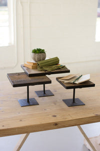 Set of 3 Recycled Wood Risers with Antique Black Metal Bases