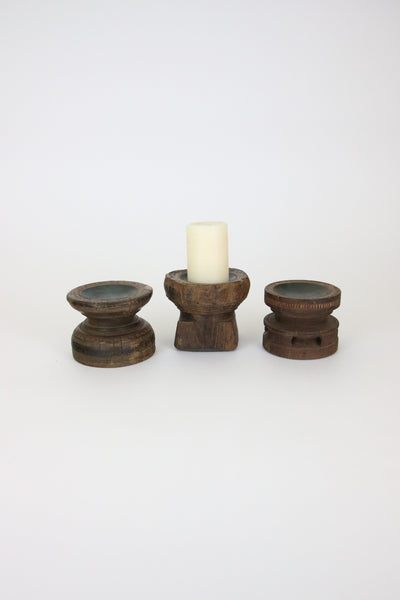 Set of 3 Hand Carved Wooden Seed Spreader Candle Holders